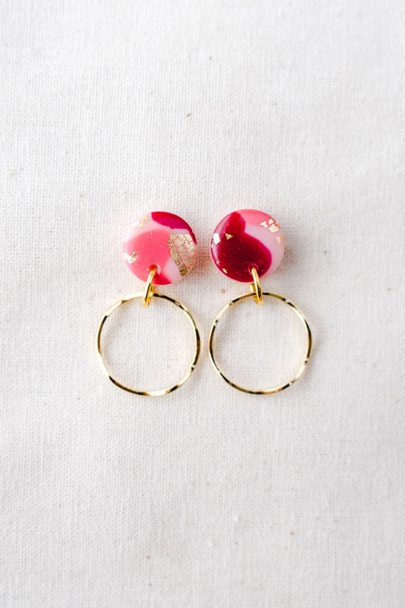 Planet gold small dangle earrings (festive pink)