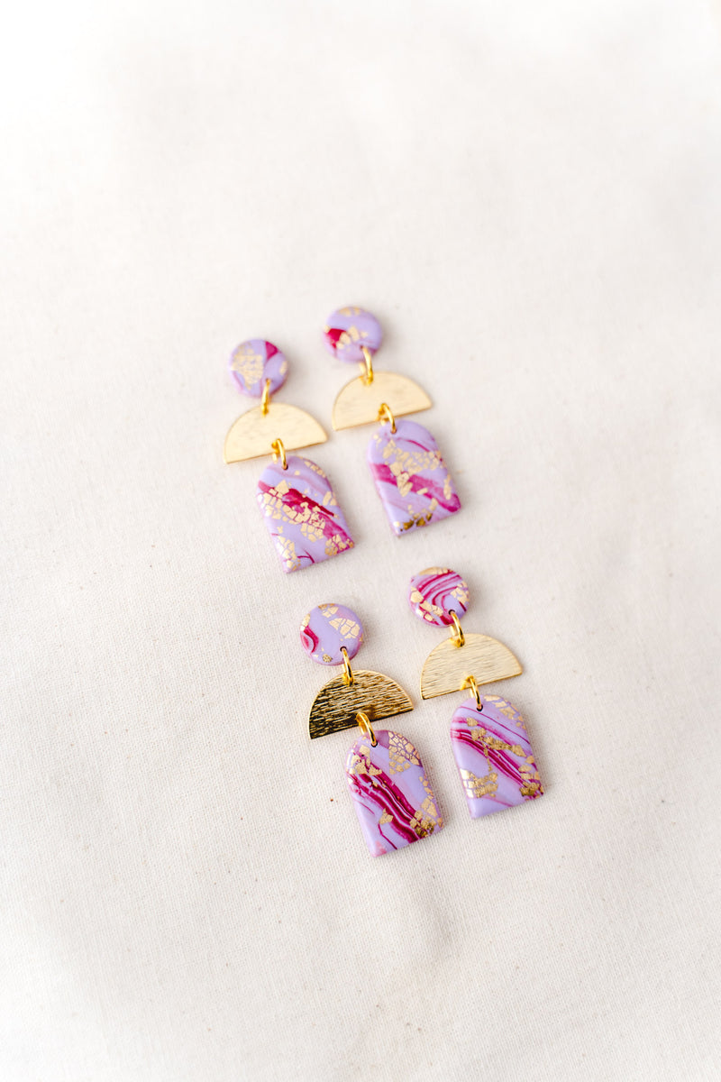 Dusk Dangle Earrings [gold plated] (lilac watercolour)