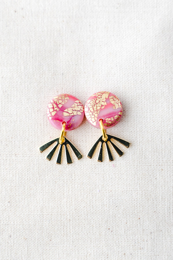 Dreamer gold small dangle earrings (pink watercolour)