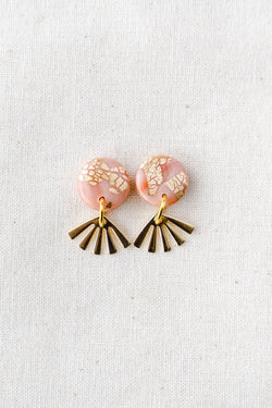 Dreamer gold small dangle earrings (peach)
