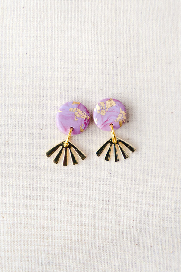Dreamer gold small dangle earrings (lilac watercolour)