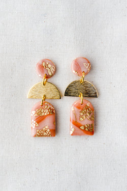 Dusk Dangle Earrings [gold plated] (peach)
