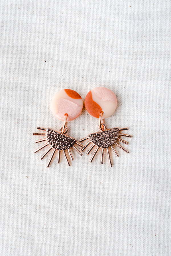 Sun Burst Small Dangle Earrings (terracotta pink)