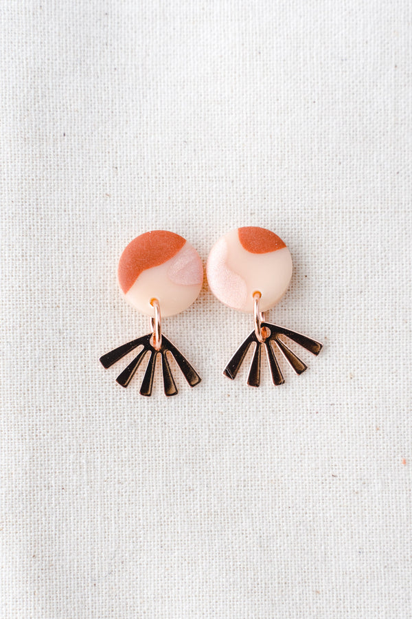 Dreamer gold small dangle earrings (terracotta pink)