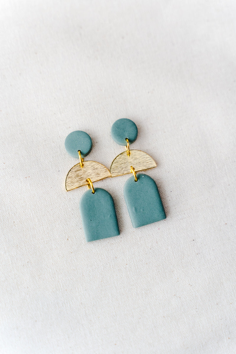 Dusk Dangle Earrings [gold plated] (solid sage)