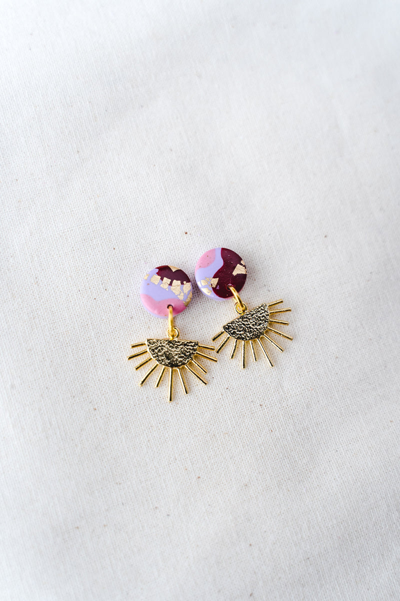 Sun Burst Small Dangle Earrings (lilac party)