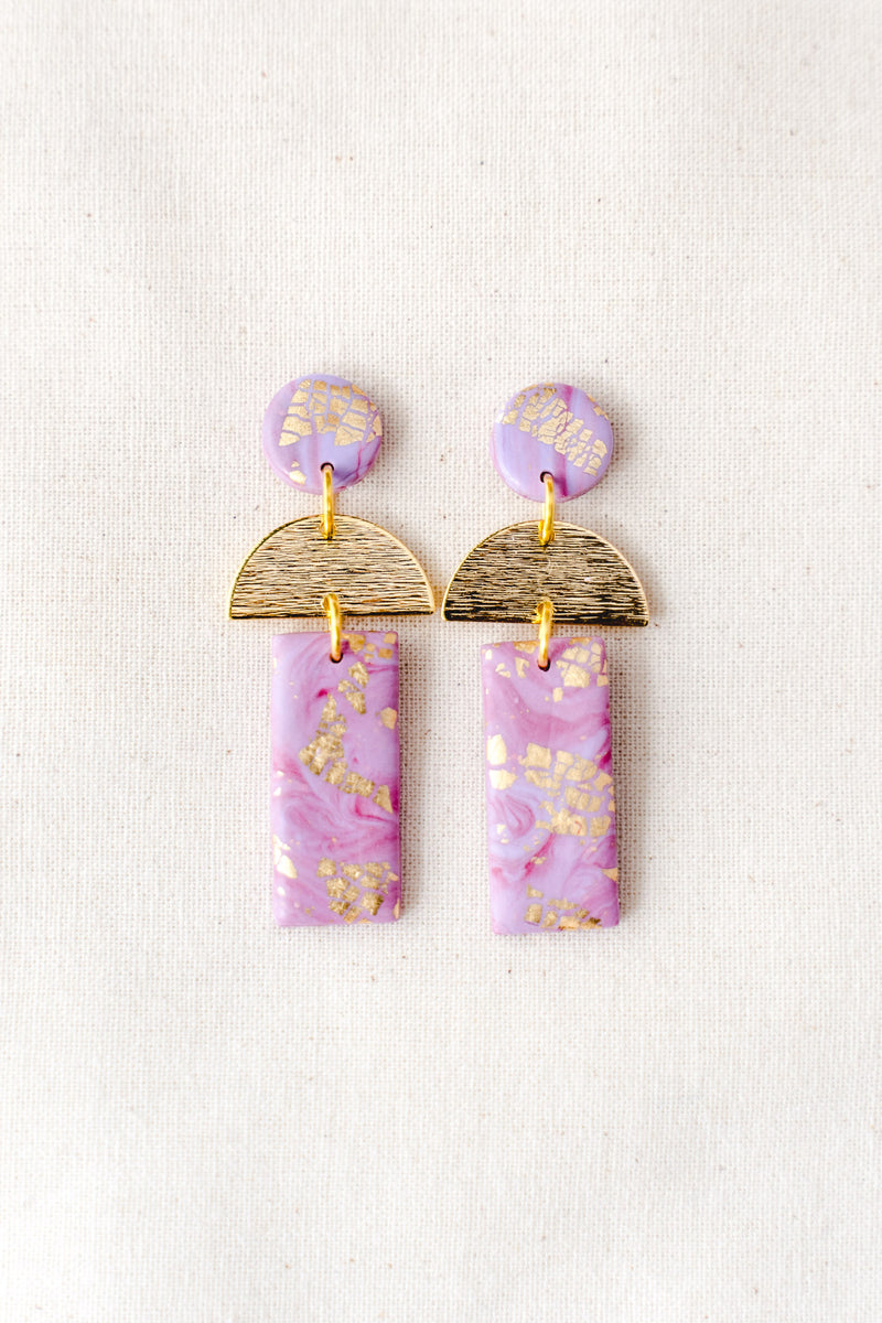 Dawn Dangle Earrings [gold plated] (lilac watercolour)