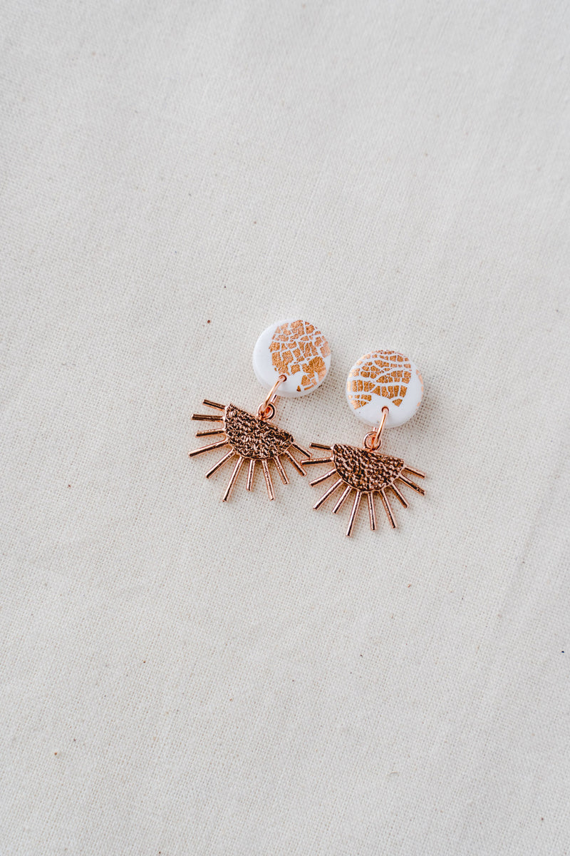 Sun Burst Small Dangle Earrings (white + rose gold)