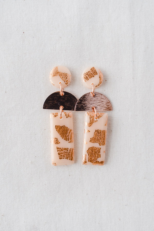 Dawn Dangle Earrings [rose gold plated] (nude peach)