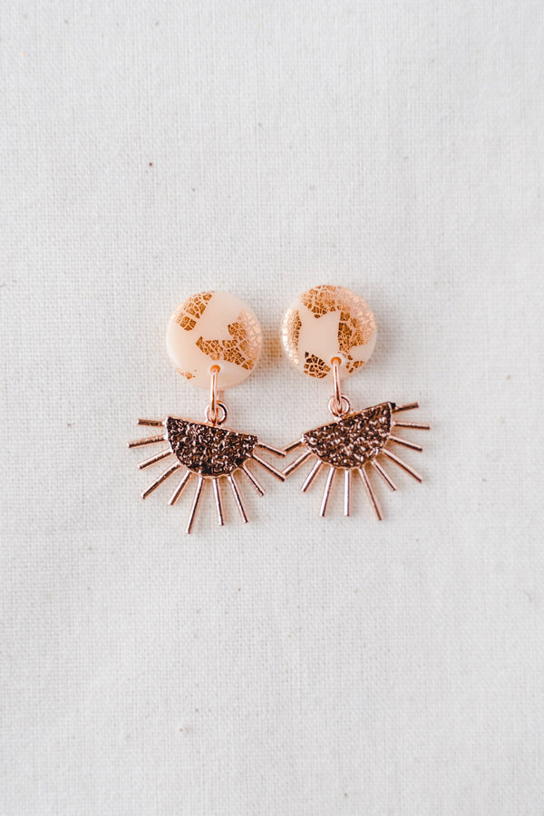 Sun Burst Small Dangle Earrings (nude peach + rose gold)