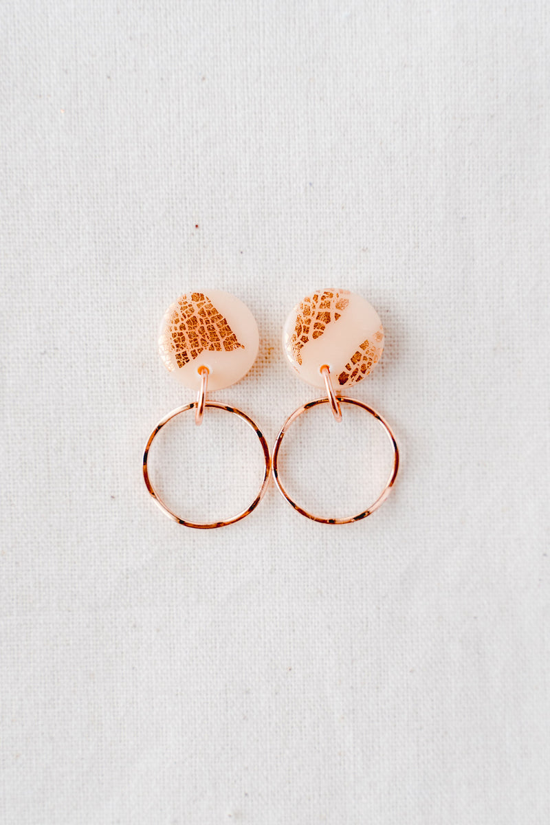 Planet gold small dangle earrings (nude peach + rose gold)