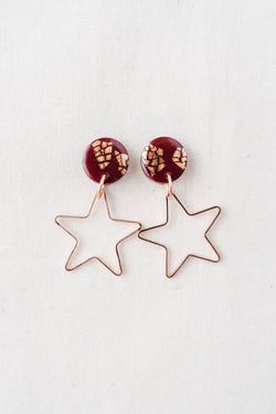 Star burst small dangle earrings (wine + rose gold)