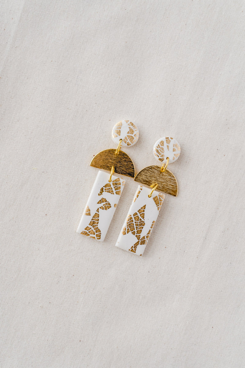 Dawn Dangle Earrings [gold plated] (white)