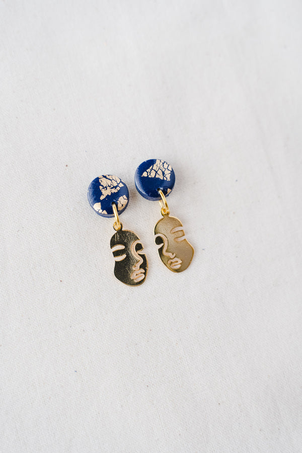 Faces Small Dangle Earrings (navy)
