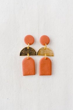Dusk Dangle Earrings [gold plated] (terracotta)