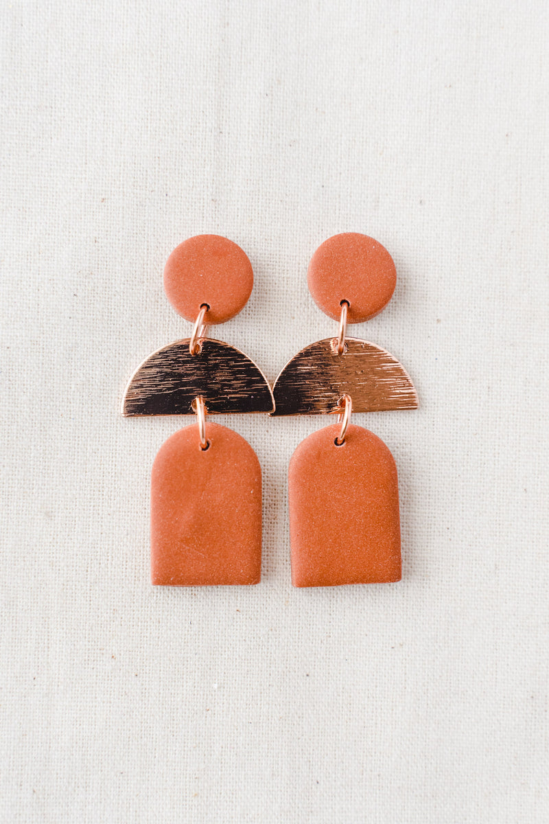 Dusk Dangle Earrings [rose gold plated] (terracotta)