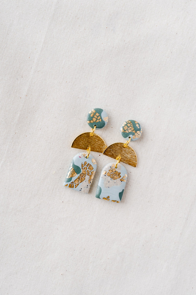 Dusk Dangle Earrings [gold plated] (sage)
