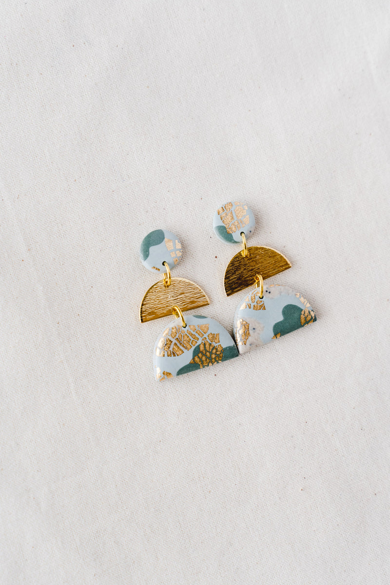 Moonlight Dangle Earrings [gold plated] (sage)