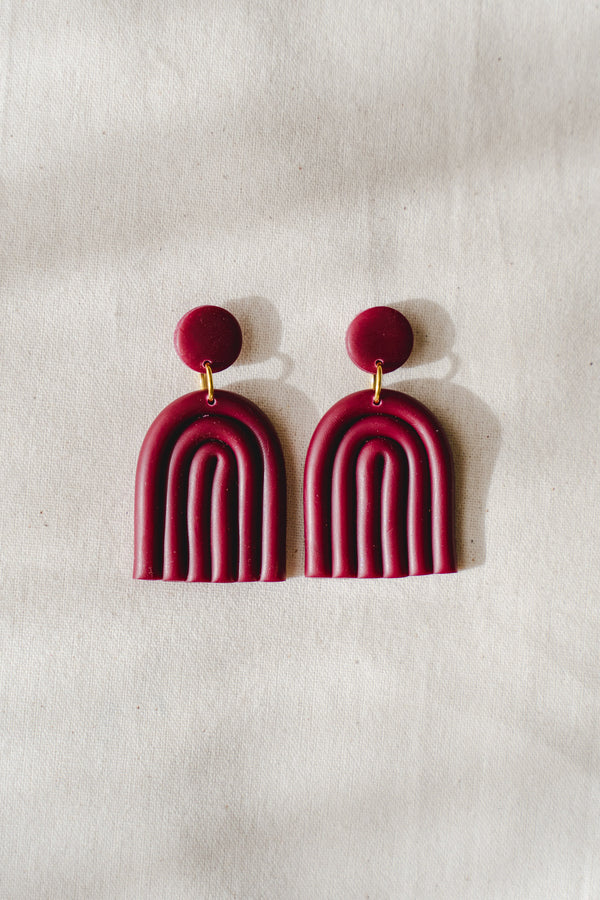 Rainbow clay earrings (wine)