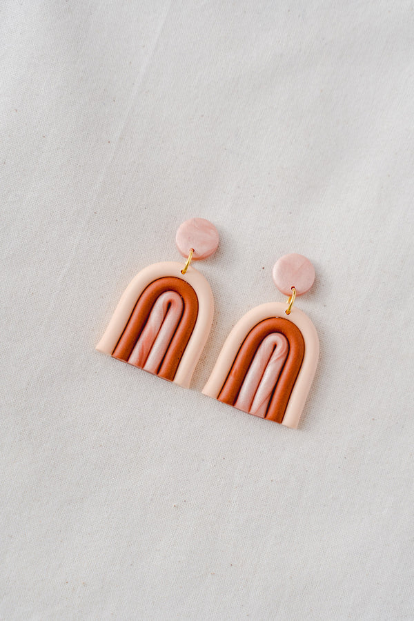 Rainbow clay earrings (desert)