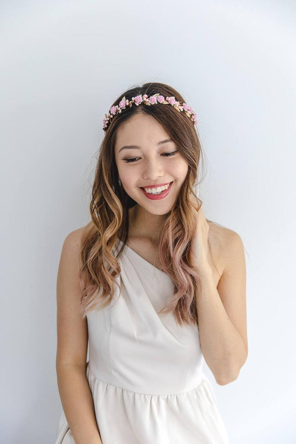 flower girl children's flower crown | pink rose & pale pink berry