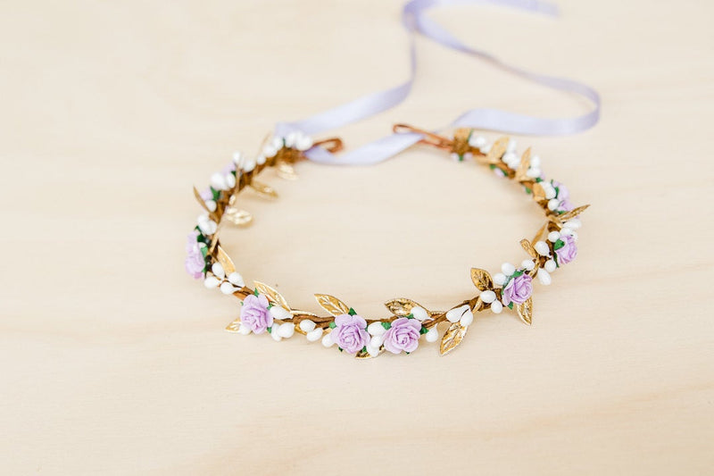 Delilah flower crown | lilac rose & white berry