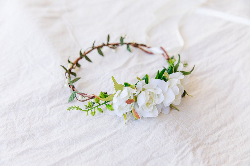 Wedding flower crown | cream asymmetrical