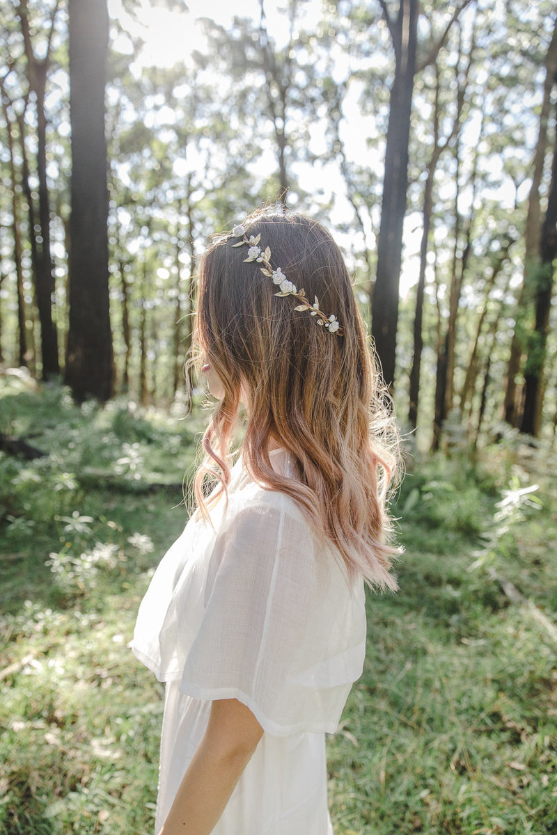 Dahlia flower crown | white rose & white berry