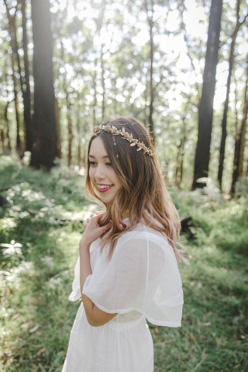 Gold flower crown