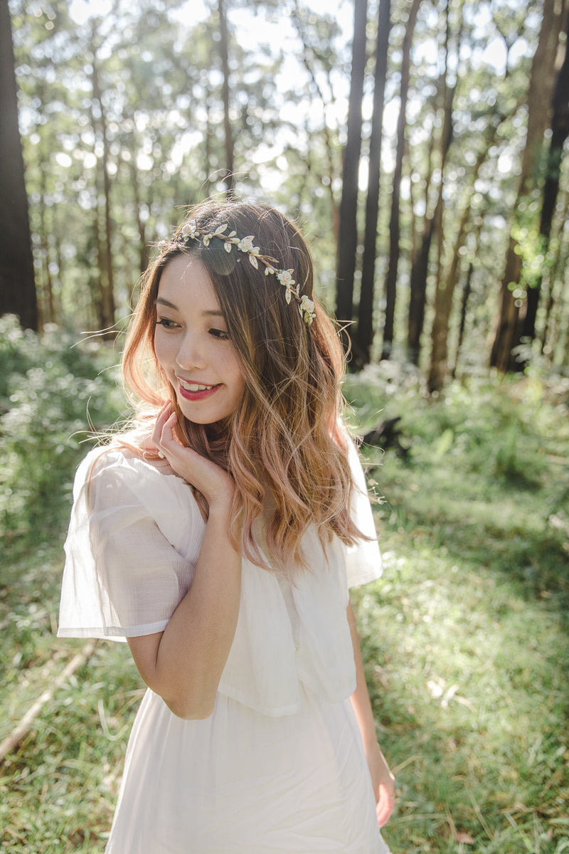 Dahlia flower crown | cream rose & berry