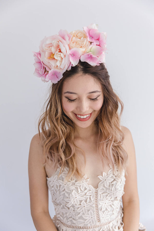 statement flower crown | pale pink