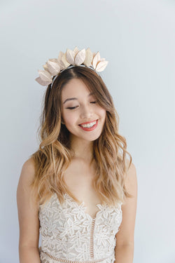 Leather Flower Crown | Rose Gold