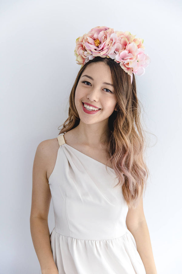 peach pink flower crown headband