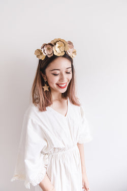 Leather Flower Crown | Gold & Rose Gold