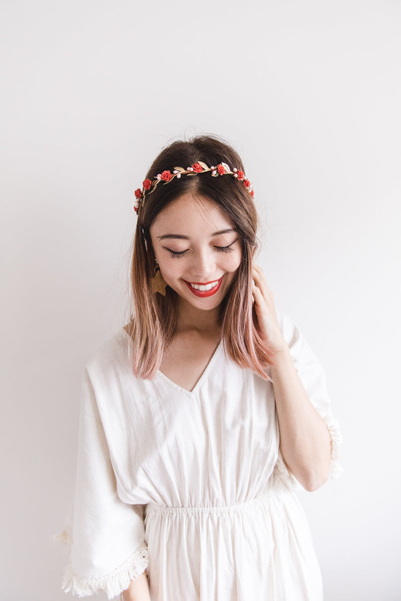flower girl children's flower crown | red rose & pale pink berry