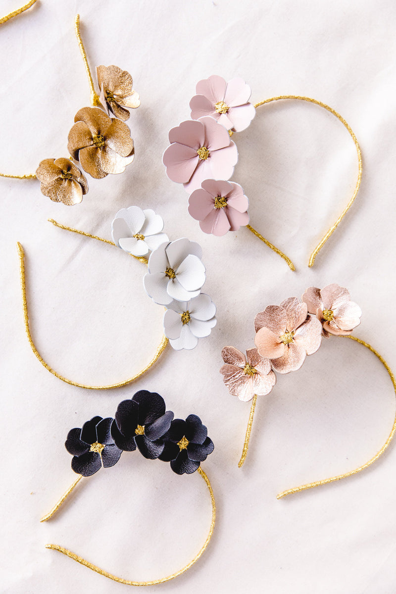 Leather Flower Crown | White