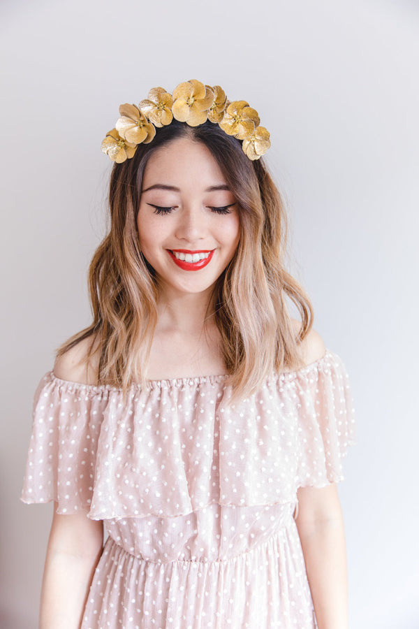 Leather Flower Crown | Gold