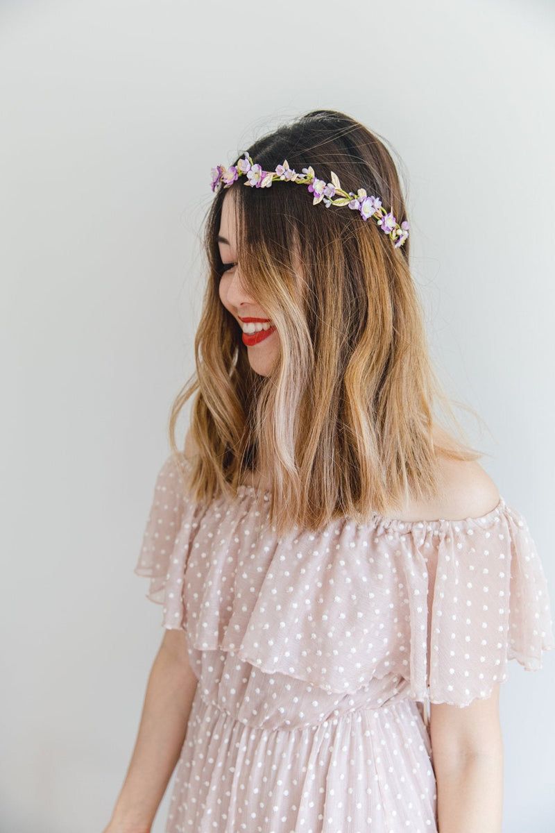 Flower crown | lilac + pale gold