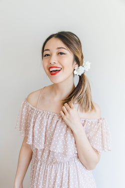 ivory flower hair pin