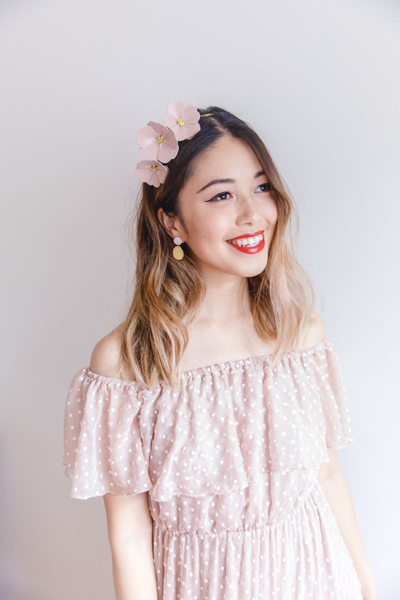 Leather Flower Crown | Blush