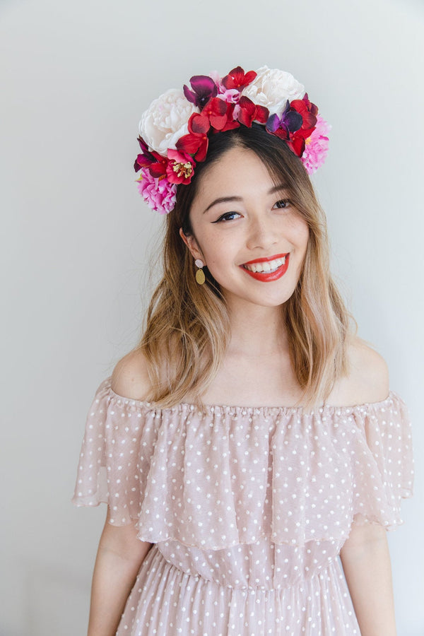 statement flower crown | red cream