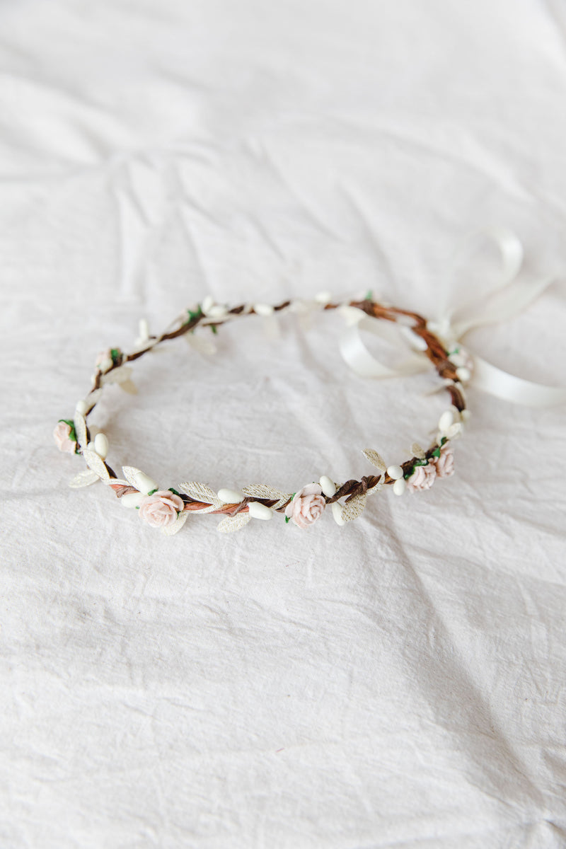 Dahlia flower crown | pale pink rose & pale gold berry