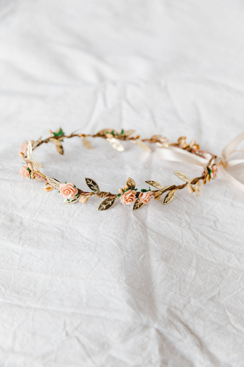 Dahlia flower crown | peach rose & rustic berry