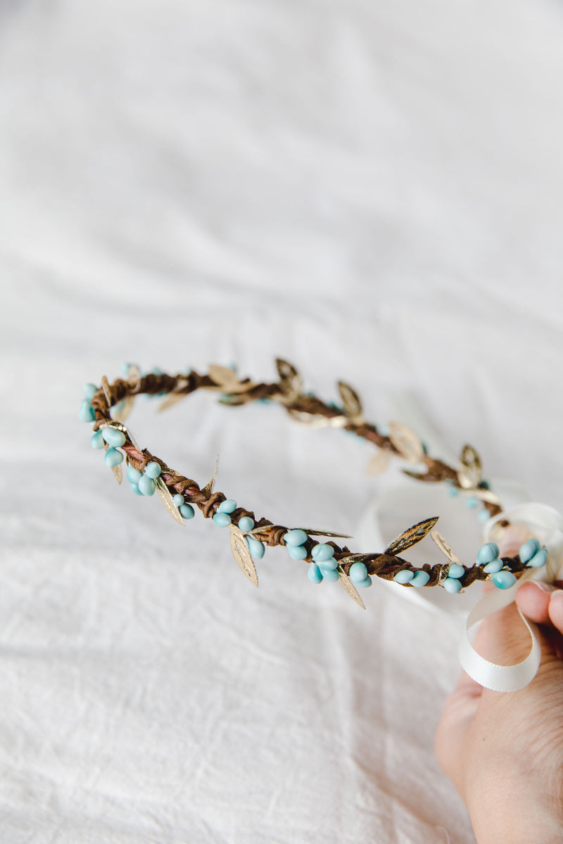 flower girl children's berry leaf crown // turquoise & gold