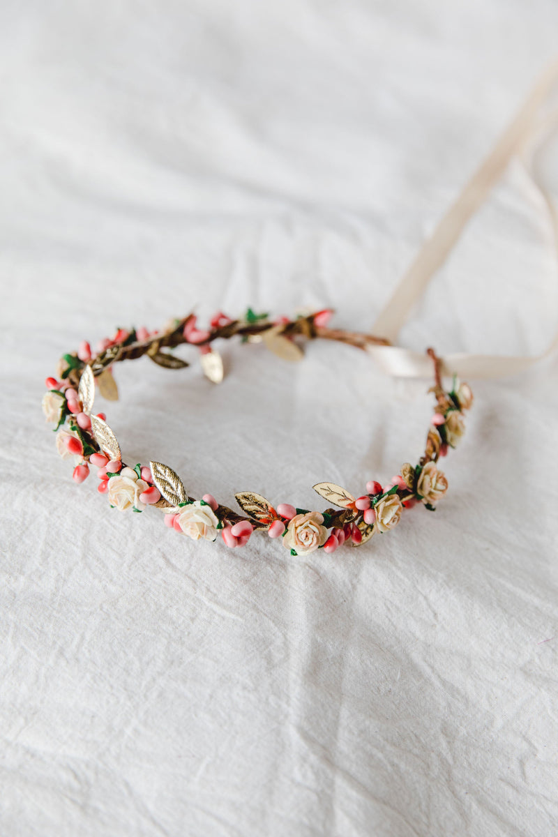 flower girl children's flower crown | pale peach rose & pink berry