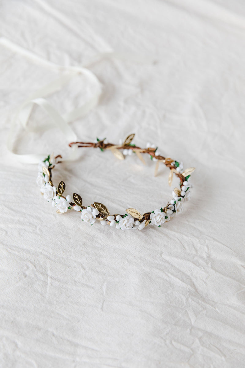 flower girl children's flower crown | white rose & white berry