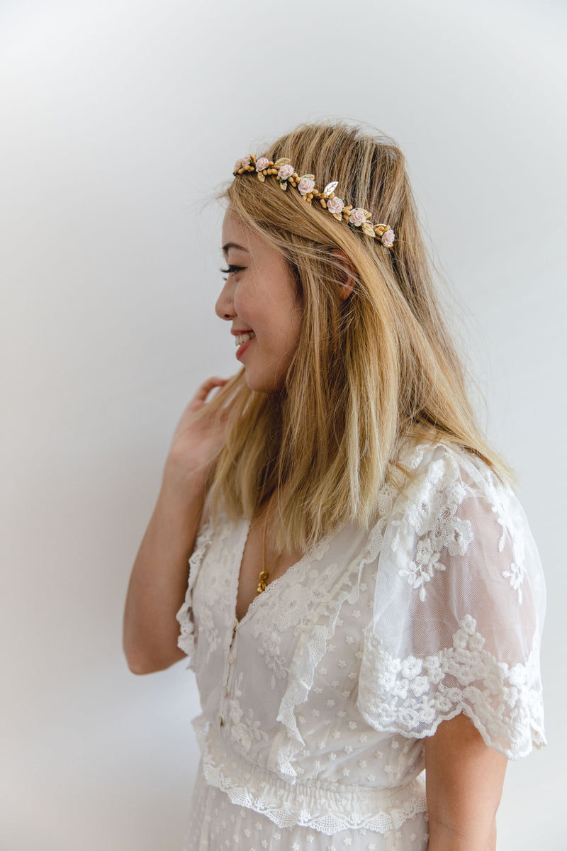 Delilah flower crown | blush rose & rustic berry