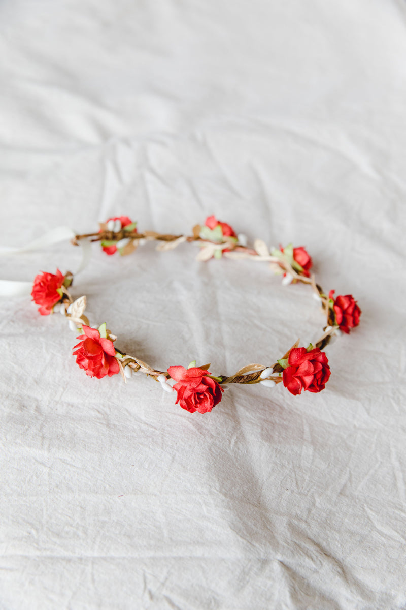 Red flower crown | pale gold leaf