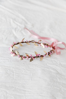 flower girl children's berry leaf crown | pink & gold