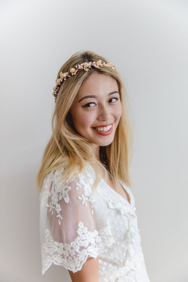Delilah flower crown | pale peach rose & pale pink berry